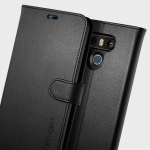 The slim Spigen LG G6 Wallet S Case in black comes complete with a card slot, stand feature and is made with a luxurious faux leather material for a polished and professional look.
