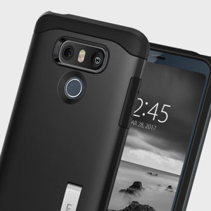 The Slim Armor case for the LG G6 in black has shock absorbing technology specifically incorporated to protect the device from impacts from any angle.