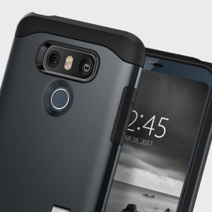 The Slim Armor case for the LG G6 in metal slate has shock absorbing technology specifically incorporated to protect the device from impacts from any angle.