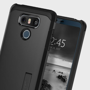The Spigen Tough Armor in black is the new leader in lightweight protective cases. The new Air Cushion Technology corners reduce the thickness of the case while providing optimal protection for your LG G6.