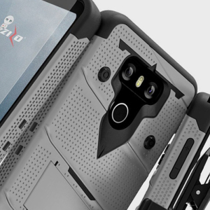 Equip your LG G6 with military grade protection and superb functionality with the ultra-rugged Bolt case in silver from Zizo. Coming complete with a tempered glass screen protector and a handy belt clip / kickstand.