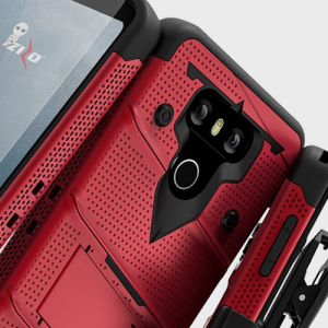 Equip your LG G6 with military grade protection and superb functionality with the ultra-rugged Bolt case in red from Zizo. Coming complete with a tempered glass screen protector and a handy belt clip / kickstand.