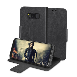 Protect your Samsung Galaxy S8 with this durable and stylish black leather-style wallet case by Olixar. What's more, this case transforms into a handy stand to view media.