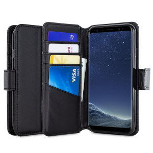 A premium slimline black genuine leather case. The Olixar genuine leather executive wallet case offers perfect protection for your Samsung Galaxy S8, as well as featuring a smart magnetic media stand slots for your cards, cash and documents.