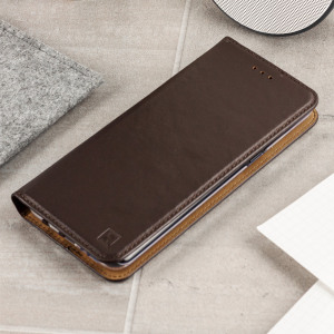 A premium slimline brown genuine leather case. The Olixar genuine leather executive wallet case offers perfect protection for your Samsung Galaxy S8, as well as featuring a smart magnetic media stand slots for your cards, cash and documents.