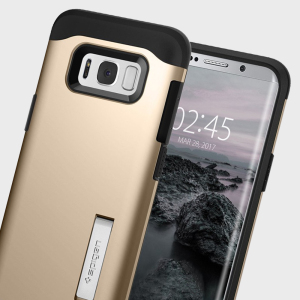 The Slim Armor case for the Samsung Galaxy S8 Plus in champagne gold has shock absorbing technology specifically incorporated to protect the device from impacts from any angle.