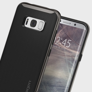 The Spigen Neo Hybrid in gunmetal is the new leader in lightweight protective cases. Spigen's new Air Cushion Technology reduces the thickness of the case while providing optimal corner protection for your Samsung Galaxy S8 Plus.