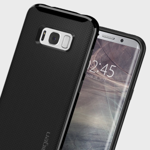 The Spigen Neo Hybrid in shiny black is the new leader in lightweight protective cases. Spigen's new Air Cushion Technology reduces the thickness of the case while providing optimal corner protection for your Samsung Galaxy S8 Plus.