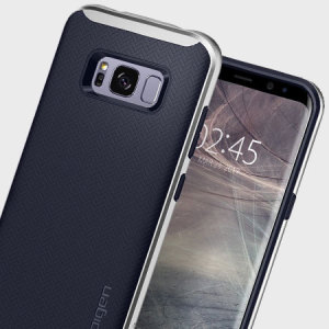 The Spigen Neo Hybrid in silver arctic is the new leader in lightweight protective cases. Spigen's new Air Cushion Technology reduces the thickness of the case while providing optimal corner protection for your Samsung Galaxy S8 Plus.