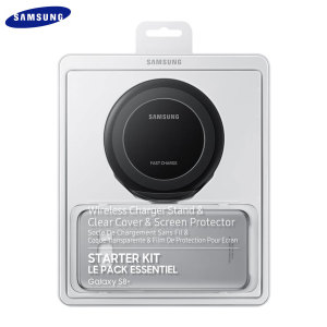 This essential starter pack from Samsung contains three accessories for your Samsung Galaxy S8 Plus no serious smartphone owner should be without - a Qi wireless charging stand, durable clear cover and screen protector.