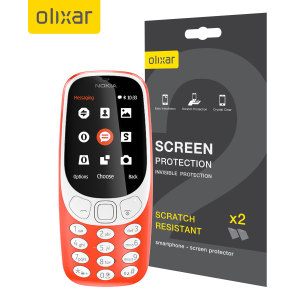 Keep your Nokia 3310 3G / 2G screen in pristine condition with this Olixar scratch-resistant screen protector 2-in-1 pack.