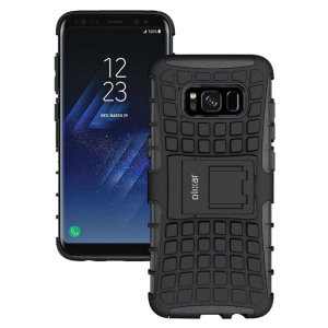 Protect your Samsung Galaxy S8 from bumps and scrapes with this black ArmourDillo case from Olixar. Comprised of an inner TPU case and an outer impact-resistant exoskeleton, with a built-in viewing stand.