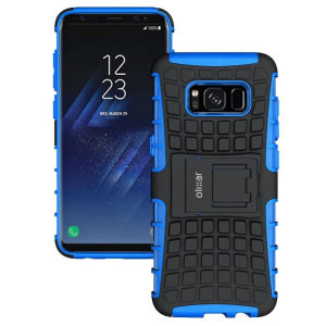 Protect your Samsung Galaxy S8 from bumps and scrapes with this blue ArmourDillo case from Olixar. Comprised of an inner TPU case and an outer impact-resistant exoskeleton, with a built-in viewing stand.