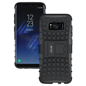 Protect your Samsung Galaxy S8 Plus from bumps and scrapes with this black ArmourDillo case from Olixar. Comprised of an inner TPU case and an outer impact-resistant exoskeleton, with a built-in viewing stand.