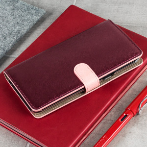 Seek sleek genuine leather protection with the wine and pink Genuine Calf Leather Samsung Galaxy S8 Plus wallet case from Hansmare. Featuring integrated slots for cards and tickets, this is the perfect utility case to keep your phone safe and pristine.