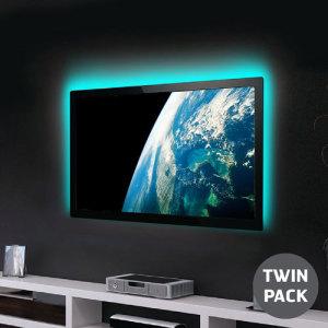 Twin pack van 50cm strips van USB-aangedreven LED's die elke tv of PC Monitor bekijkervaring verbeteren en transformeren. Met een scala aan kleuren en modi om te genieten, voegt dit fijne afwerking toe de sfeer, de stemmingsverlichting en het verlichten van de oogst.