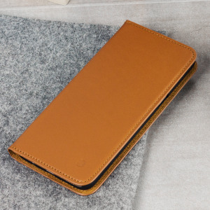 This sleek, understated case from Beyza for Samsung Galaxy S8 Plus in tan is hand crafted from genuine leather for a professional aesthetic. Also features a folding front cover which transforms the case into a stand for easy media viewing.