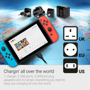 Charge your Nintendo Switch at rapid speed with this compatible 4.2A Dual Port USB Mains Fast Charger and a bundled USB-C cable. The charger comes with 3 (UK, EU, US) interchangeable mains adapters, allowing you to use it abroad. Includes a USB-C cable.