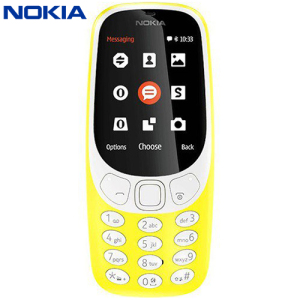 Unlocked Nokia 3310 in yellow. Taking the best of the original 3310 released back in 2000, the Nokia 3310 (2017) adds a colour display, Micro SD card expansion, 2MB camera, FM radio and Bluetooth compatibility. And yes, you can again play Snake!
