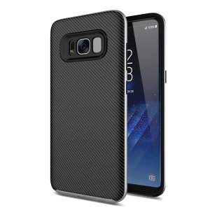 Hybrid layers of robust TPU and hardened polycarbonate with a premium matte finish non-slip carbon fibre design, the Olixar XDuo case in black and silver keeps your Samsung Galaxy S8 Plus safe, sleek and stylish.