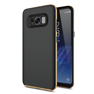 Hybrid layers of robust TPU and hardened polycarbonate with a premium matte finish non-slip carbon fibre design, the Olixar X-Duo case in black and gold keeps your Samsung Galaxy S8 Plus safe, sleek and stylish.