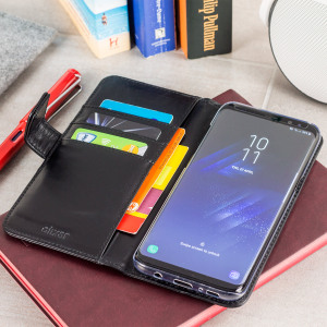 A sophisticated lightweight black genuine leather case with a magnetic fastener. The Olixar genuine leather wallet case offers perfect protection for your Samsung Galaxy S8 Plus, as well as featuring slots for your cards, cash and documents.
