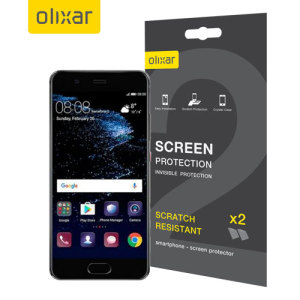 Keep your Huawei P10 screen in pristine condition with this Olixar scratch-resistant screen protector 2-in-1 pack.