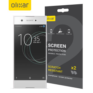 Keep your Sony Xperia XA1's screen in pristine condition with this Olixar scratch-resistant screen protector 2-in-1 pack.