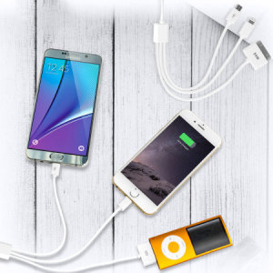 Ideal for travel, the 20cm 4-in-1 Charging cable supports the charging of multiple mobile devices on the go. Compatible with Apple Lightning , Micro USB, 30 Pin and Samsung tab devices.