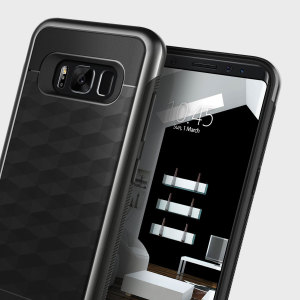 Protect your Samsung Galaxy S8 with this stunning premium dual-layered shell case in black. Made with tough dual-layered yet slim material, this hardshell body with a sleek metallic bumper features an attractive two-tone finish.