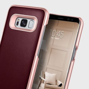 Made from dual layers of rugged TPU and tough polycarbonate with bonded premium textured layers and featuring a stunning leather-style design, the Fairmont Series tough case in cherry oak keeps your Samsung Galaxy S8 safe, slim and stylish.