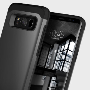 Protect your Samsung Galaxy S8 with this stunning tough dual-layered armoured case in black. Made with robust dual-layered yet slim material, this TPU body with a sleek outer layer features an attractive two-tone finish.