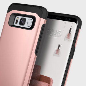Protect your Samsung Galaxy S8 Plus with this stunning tough dual-layered armoured case in rose gold. Made with robust dual-layered yet slim material, this TPU body with a sleek outer layer features an attractive two-tone finish.