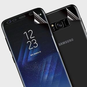Houdt je Samsung Galaxy S8 Plus in onberispelijke staat met deze Olixar krasbestendige en volledig dekkende TPU screen protector 2-in-1 verpakking. Met twee aansluitende screen protectors die de voor en achterkant van je telefoon volledig bedekken voor allround bescherming.