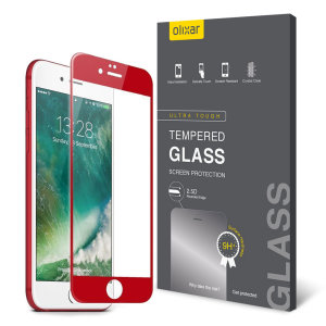 This ultra-thin full cover curved tempered glass screen protector for the iPhone 7 Plus from Olixar offers toughness, high visibility and sensitivity all in one package. Features complete edge to edge screen protection for the special edition red iPhone.