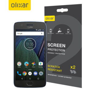 Keep your Moto G5 Plus' screen in pristine condition with this Olixar scratch-resistant screen protector 2-in-1 pack.dfgad