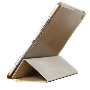 Protect your iPad 9.7 2017 with this supremely functional gold and frosted white case with viewing stand feature. Also features smart sleep / wake functionality.