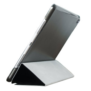 "Protect your iPad 2017 (9.7"") with this supremely functional transparent and black case with viewing stand feature. Also features smart sleep / wake functionality."