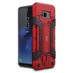 Equip your Samsung Galaxy S8 with rugged protection and superb functionality with the XTrex case in red and black from Olixar. Featuring a handy kickstand for viewing media in both portrait and landscape and an ingenious secure credit card compartment.