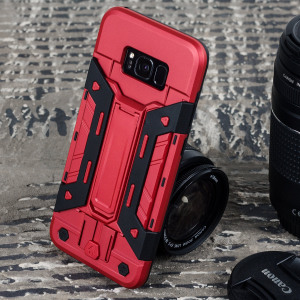 Equip your Samsung Galaxy S8 Plus with rugged protection and superb functionality with the X-Trex case in red / black from Olixar. Featuring a handy kickstand for viewing media in both portrait and landscape and an ingenious secure credit card compartment