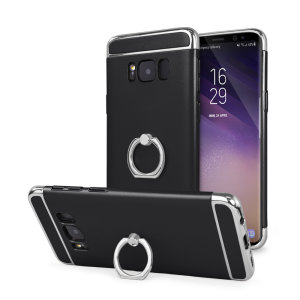 Custom made for the Samsung Galaxy S8, this black and silver XRing case from Olixar provides excellent protection and a handy finger loop to keep your phone in your hand, whether from accidental drops or attempted theft.
