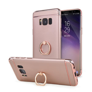 Custom made for the Samsung Galaxy S8, this rose gold XRing case from Olixar provides excellent protection and a handy finger loop to keep your phone in your hand, whether from accidental drops or attempted theft.