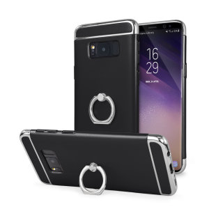 Custom made for the Samsung Galaxy S8 Plus, this black and silver XRing case from Olixar provides excellent protection and a handy finger loop to keep your phone in your hand, whether from accidental drops or attempted theft.
