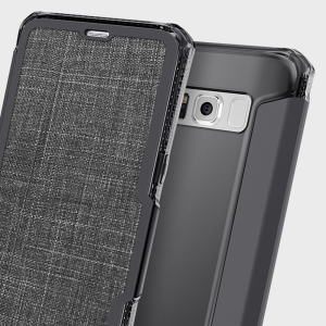This leather-style case from ITSKINS for Samsung Galaxy S8 in black sports a stylish, understated textile aesthetic along with air cushion technology for superior drop protection. Also features a card slot for cash, ID or debit / credit cards.
