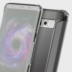 This clear flip case from ITSKINS for Samsung Galaxy S8 in black sports a transparent front cover, which allows you to view notifications and interact with your device without opening the case.