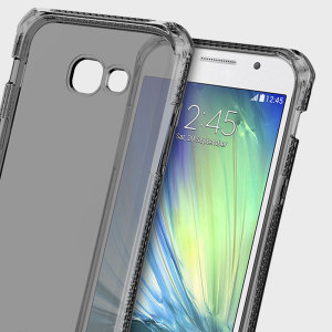 Experience superior protection for your Samsung Galaxy A3 2017 with the black and clear Spectrum case from ITSKINS. Drop test certified over 6ft, this case will show off the unique design of your device and provide shock and drop resistance.