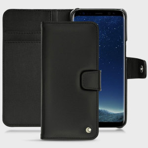 Keep your Samsung Galaxy S8 Plus well protected from damage with this high quality, beautifully hand-crafted genuine black leather wallet case from Noreve. The perfect blend of premium style and functionality.