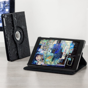 "Protect your iPad 2017 (9.7"") with this elegant black floral pattern case with 360 degree rotating viewing stand for portrait and landscape positions and sleep / wake functionality."