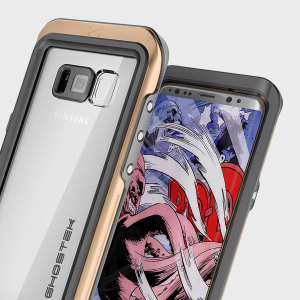 Equip your Samsung Galaxy S8 with the most extreme and durable protection around! The gold and clear Ghostek Atomic 3.0 is completely waterproof and provides rugged drop protection with an HD scratch resistant screen protector.