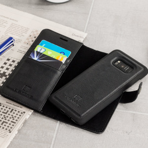 Protect your Galaxy S8 with this ingenious and luxurious leather-style and genuine cowhide wallet case in black. This stylish wallet case stores your cards and documents. Detachable magnetic shell case makes this 2-in-1 for extra convenience.